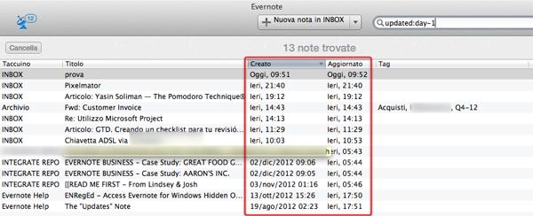 Confronto date di creazione e aggiornamento in Evernote