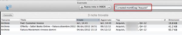 Ricerca composita in Evernote