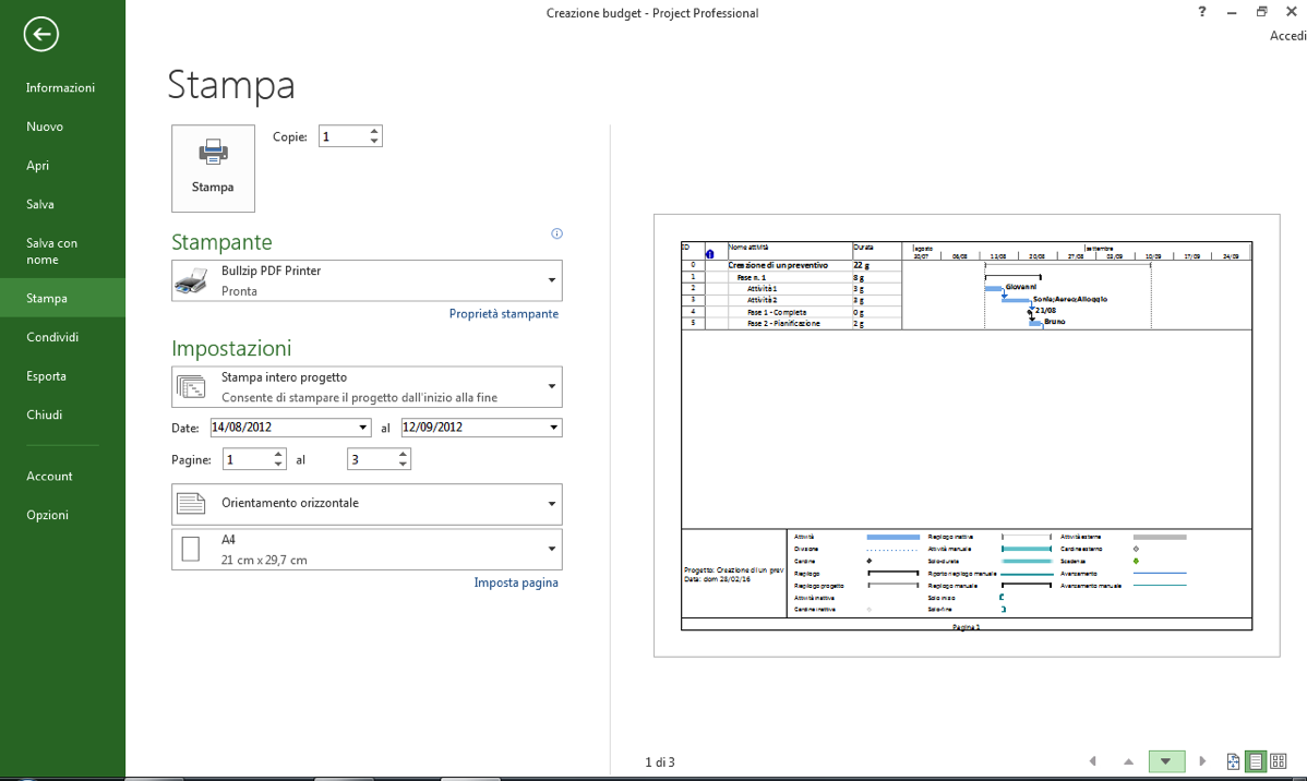 Stampa in Microsoft Project