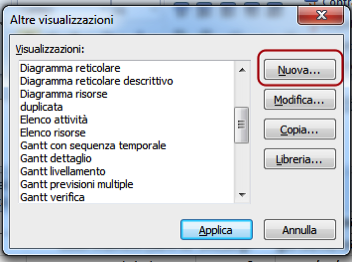 Creare una vista con Microsoft project
