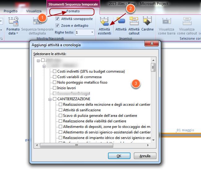 Come aggiungere attività alla Sequenza Temporale in Microsoft Project