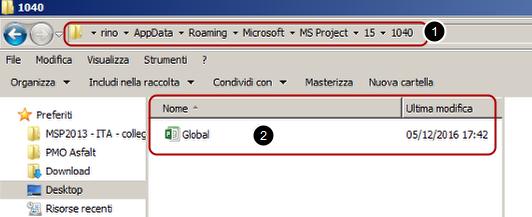 Modello globale di Microsoft Project