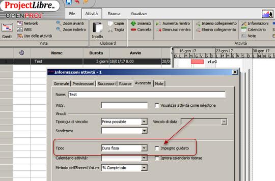 Attività a durata fissa con ProjectLibre - Microsoft Project