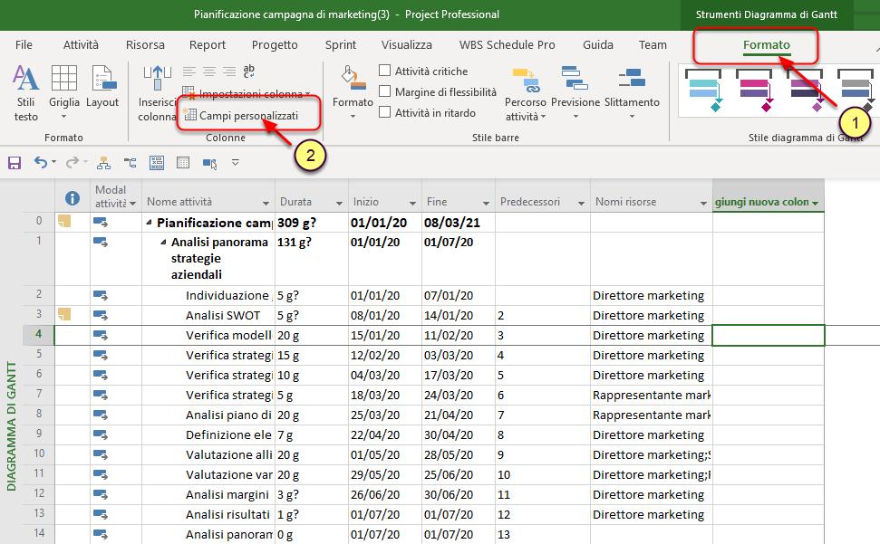 Come visualizzare le settimane di inizio e fine in Microsoft Project
